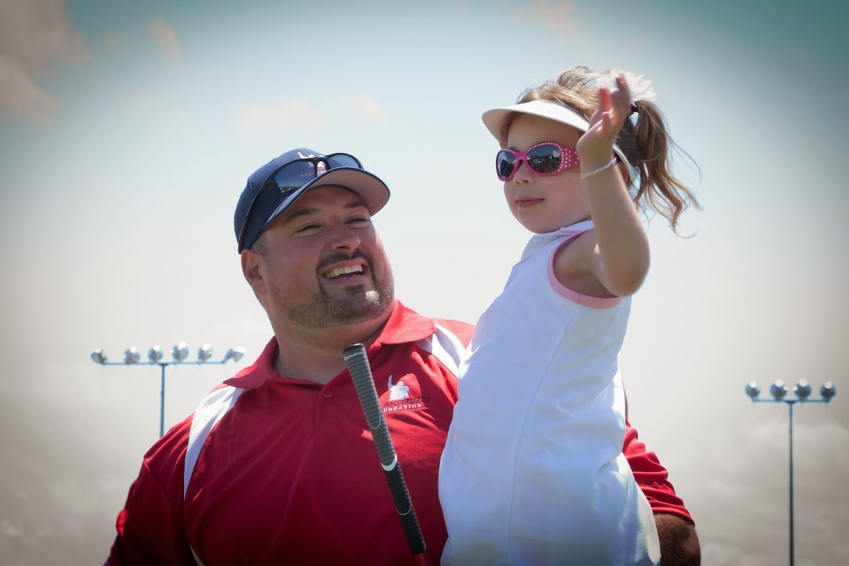 Joe Andruzzi & Young Cancer Patient at  Golf Tournament