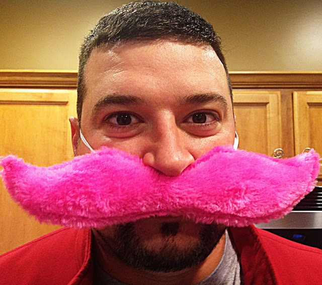 Joe Andruzzi wears pink mustache for movember - Joe Andruzzi Foundation