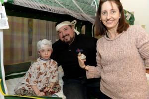 BOSTON, MA - JANUARY 29: Joe Andruzzi visits Aidan, and Mom at Boston Children